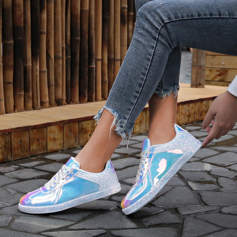Women's Fashion Trend Colorful Mirror Casual sneaker Shoes