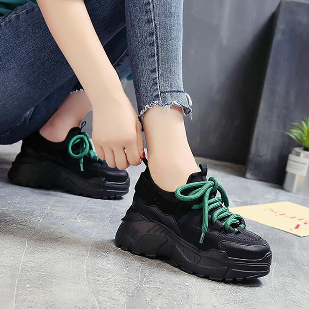 Increased Light And Breathable Round Toe Casual Women Sneakers