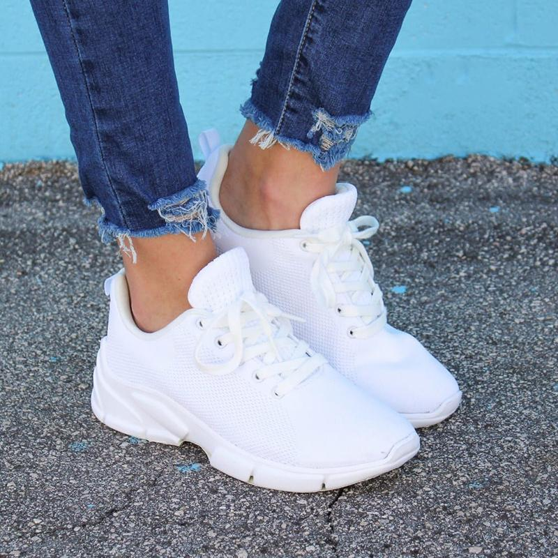 Sportive Casual Lace-Up Pure Color Sneakers