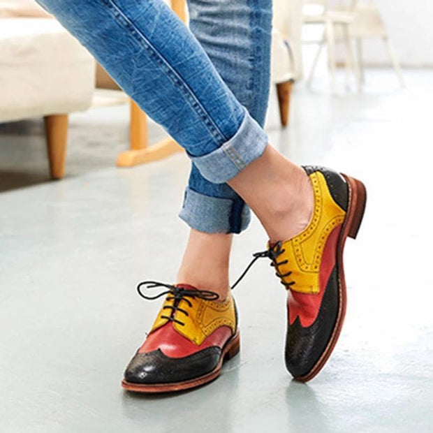 Women's Casual Color Matching Lace-Up Shoes