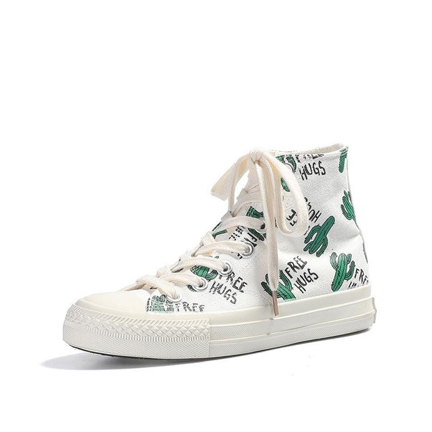 Women's Fashion Casual Cactus Canvas High-Top Sneakers