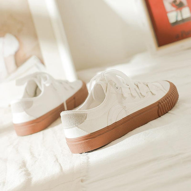 Sportive Mixed Color Lace-Up Low-Top Canvas Shoes