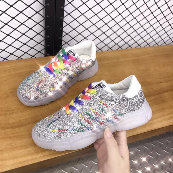 Fashion Lace-Up Mixed Color Kitten Heels Sneakers