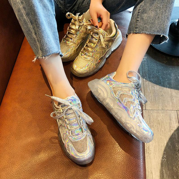 Fashion Crystal Thick Bottom Round Sports Shoes