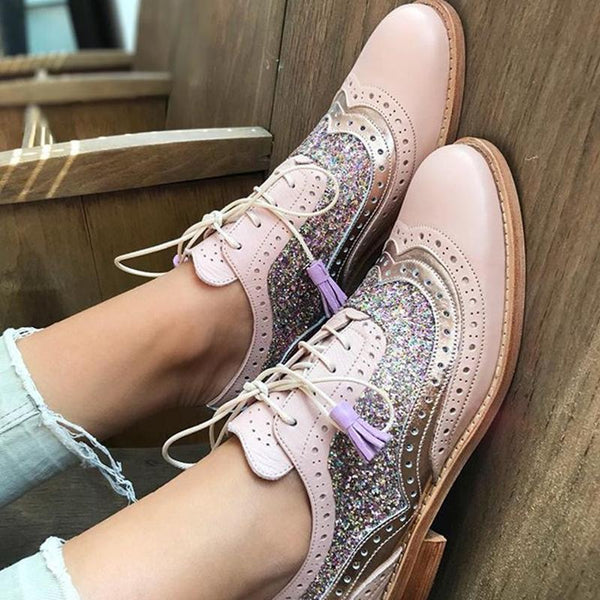 Classic Tassel Mixed Color Lace-Up Single Shoes