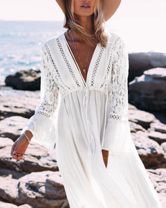 Casual V Neck  Long Sleeve Lace Maxi Dresses