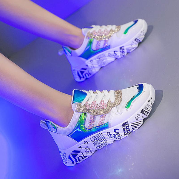 Casual Lace-Up Mixed Color Kitten Heels Sneakers