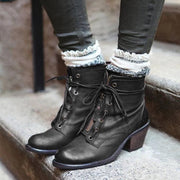 Distressed Plain Chunky Round Toe Boots