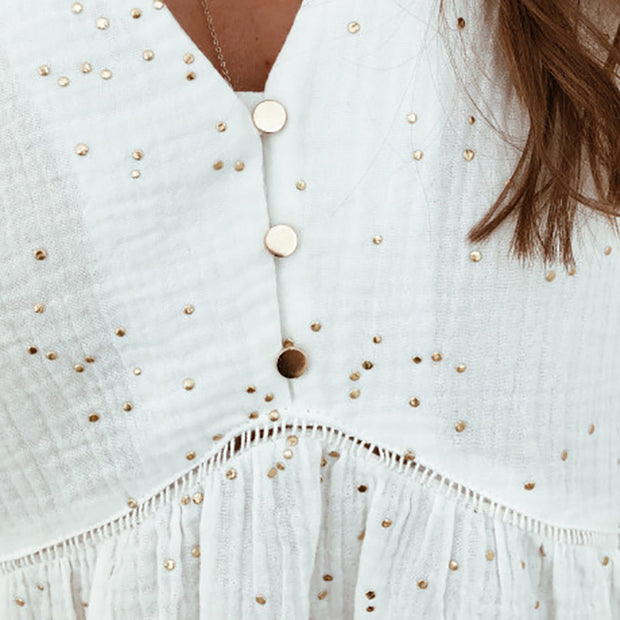 Casual V-neck Gold Dot Button Stitching Shirt RY01