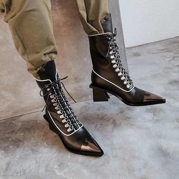 Women's fashion black lace-up pointed boots