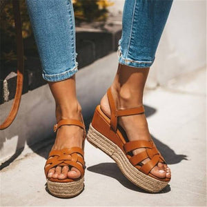 Fashion Vintage Woven Platform Wedge Sandals