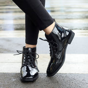 Women's casual solid color lace Martin ankle boots