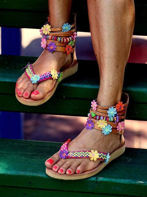 Zipper flat bottomed flowers sweet handmade sandals