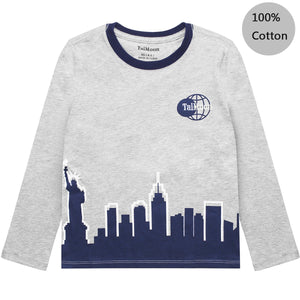 New York City Night Kids Boy Long Sleeve Tops Tee Blouses Clothes