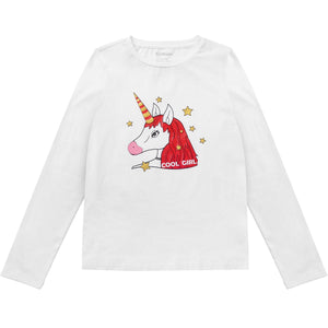 Kids Girls Cotton Unicorn Long Sleeves T-shirt Tops Tee Clothes Children Blouses