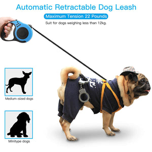 AICase Bone Printing Retractable Dog Leash Pet Lead Tape Automatic Extendable Traction Rope 5m Long Nylon One Button Break & Lock, Tangle Free, Perfect Control for Small Medium Dogs Cats