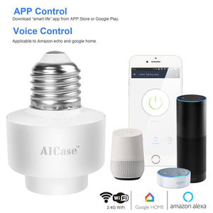 Smart Wifi E27 Light Socket, AICase Intelligent Wlan Home Remote control Light Lamp Bulb Holder Compatible with Alexa and Google Home-White