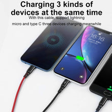 Load image into Gallery viewer, AICase Multi Charger Cable(4ft) Nylon Braided Universal 3 in 1 Multiple USB Charging Cord Adapter 2.4A Current with 8Pin Plug/USB Type C/Micro USB Connector Ports for Cell Phones Tablets and More