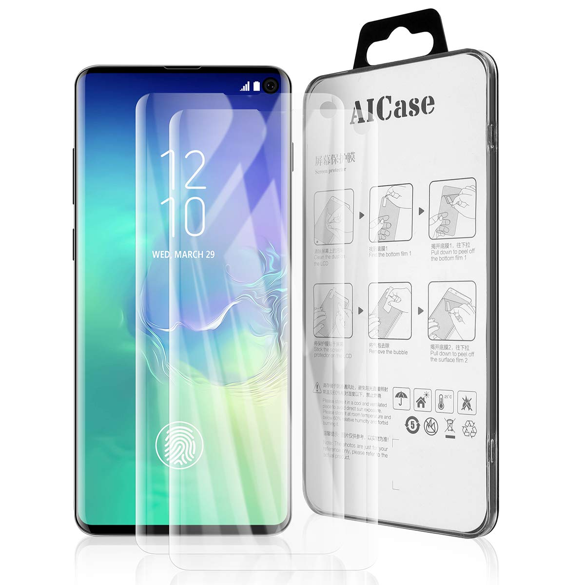 AICase Anti Fingerprint Screen Protector for Galaxy S10