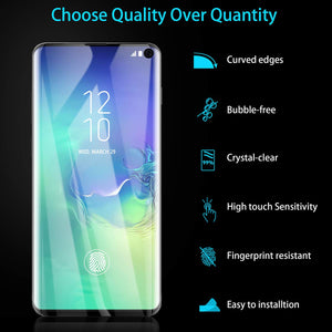 AICase Screen Protector for Galaxy S10,Black 0.25mm [Soft Curved Film ][HD Clear] [Case Friendly][FullCoverage] [Bubble-Free][Anti Fingerprint] Screen Cover for Samsung Galaxy S10