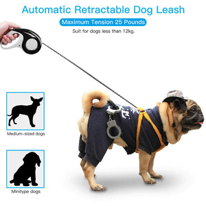 AICase Retractable Dog Leash [10FT/16FT] Suitable for Dog Weight Below [12kg/25 lbs] Tangle-Free Heavy Duty One Button Break & Lock Tape