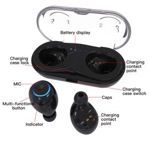 Mini TWS Bluetooth Wireless Earphones, AICase Stereo Headphone, Wireless Earbuds with Charging Case, Bluetooth 4.2 Dual in-Ear Mini Earbuds Long Standby Time Headset for Smartphones
