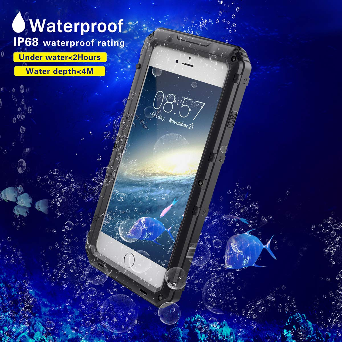 Phone 7/ iPhone 8 Waterproof Case, AICase IP68 Underwater Protective Cover [Heavy Duty Protection][Full Body Protective] Metal Shockproof Shell Built in Screen Protector for iPhone 7/8