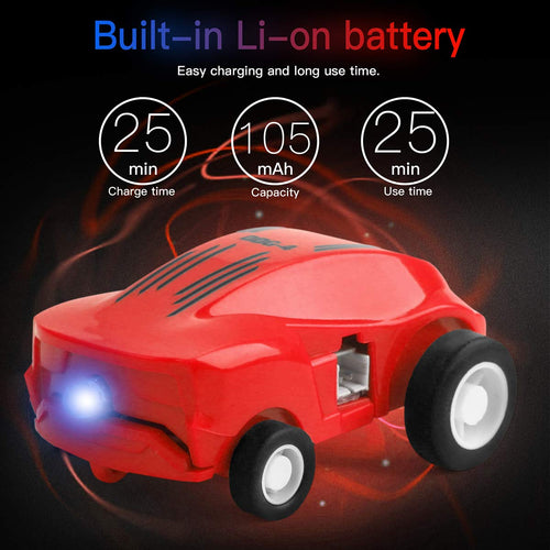 AICase Micro Racers Mini Rechargeable Stunt Cars -360 Degree Rotating Pocket Racer with LED Light Up Glow in The Dark Toy Car for Girls or Boys, Keychain Cars / Balls for Kids