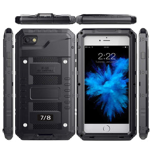 iPhone 7 Plus/ 8 Plus Waterproof Case, AICase IP68 Underwater Heavy Duty Cover [Full Body Protective] Metal Shockproof Shell with Built in Screen Protector for iPhone 7 Plus/ 8 Plus