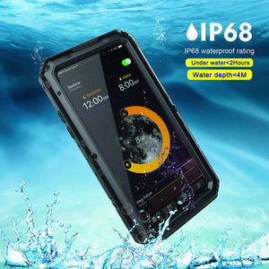 iPhone Xs/iPhone X Waterproof Case, AICase IP68 Underwater Protective Cover [Heavy Duty Protection][Full Body Protective] Metal Shockproof Shell Built in Screen Protector for iPhone X/XS