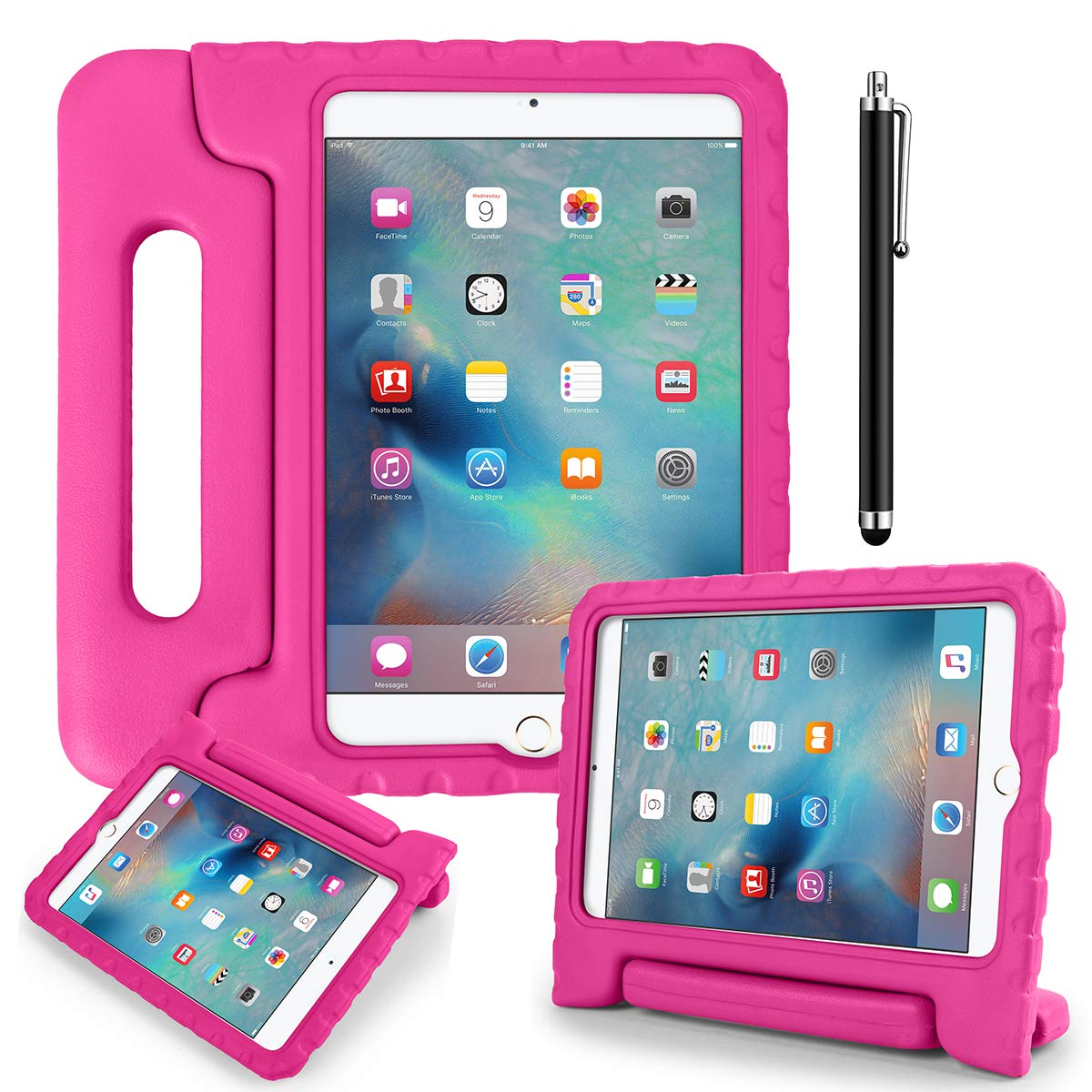 iPad Mini 1/2/3 Kids Shockproof Bumper Hard Case with Handle Stand and Screen Protector