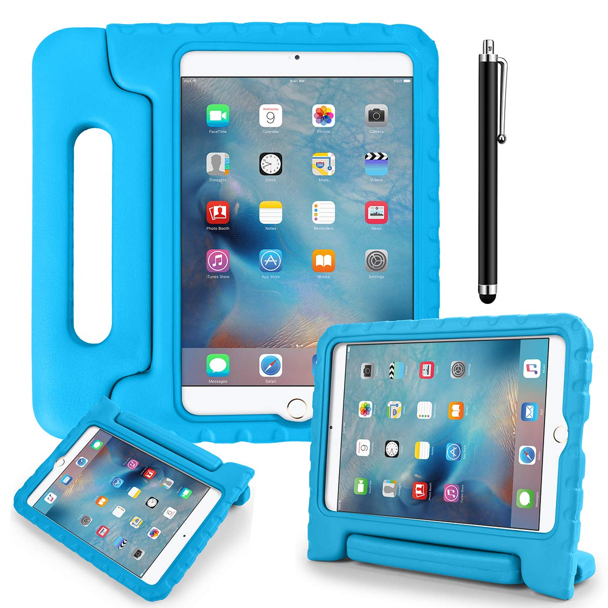 iPad 9.7 Kids Shockproof Bumper Hard Case with Handle Stand and Screen Protector