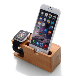 NEO Bamboo Charging Docking Station Charger Stand Holder For iWatch and iPhone