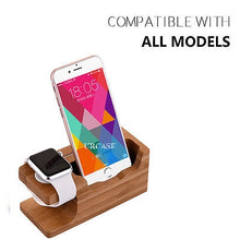 Load image into Gallery viewer, iPhone & Apple Watch 38/42mm Dock Bamboo Wood Stand Charge Station Cradle Holder