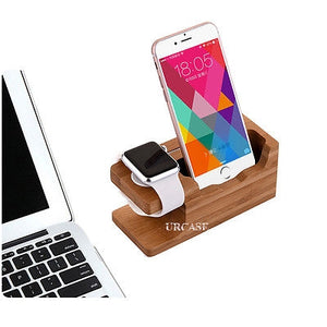 iPhone & Apple Watch 38/42mm Dock Bamboo Wood Stand Charge Station Cradle Holder