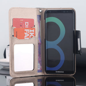 AICase Wallet PU Leather Flip Kickstand Case with Card Slots Make Up Mirror Detachable Wrist Strap Folding Stand Protective Cover