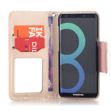 Load image into Gallery viewer, AICase Wallet PU Leather Flip Kickstand Case with Card Slots Make Up Mirror Detachable Wrist Strap Folding Stand Protective Cover