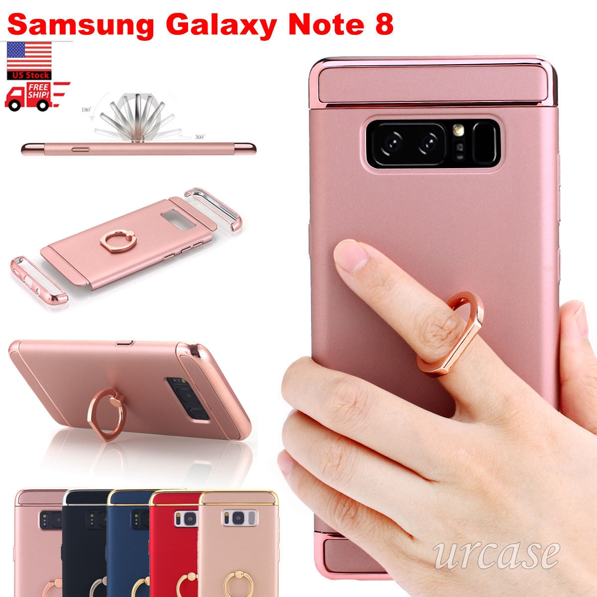 new styles e8347 33b71 Samsung Galaxy Note 8 Phone Case Ring Holder Kickstand Slim Hybrid Back  Cover