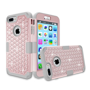 Diamond Bling Hybrid Armor Rugged Rubber Diamond Matte Hard Case Cover