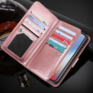 Glitter Sparkly Bling Cute Shiny PU Leather Flip Folio Wallet Cover with 9 Card Slots Wristlet
