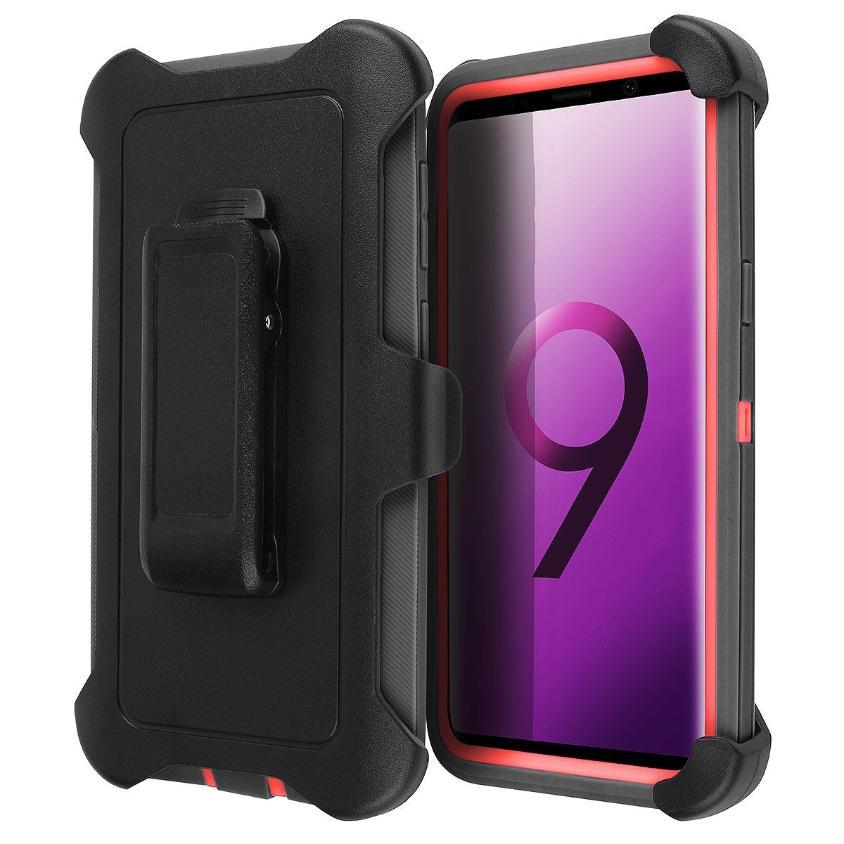 Galaxy S9 Belt Clip Shockproof Case, AICase 3 in 1 Armor [Full body] Heavy Duty Holster Case Belt Clip +Protective Kickstand Shock Reduction Case for Samsung Galaxy S9 (Black+Red))