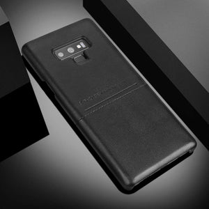 G-Case Galaxy Note 9 Soft Fabric + Premium PU Leather Case with ID & Card Holder Slot Simple Professional Executive Snap On Case