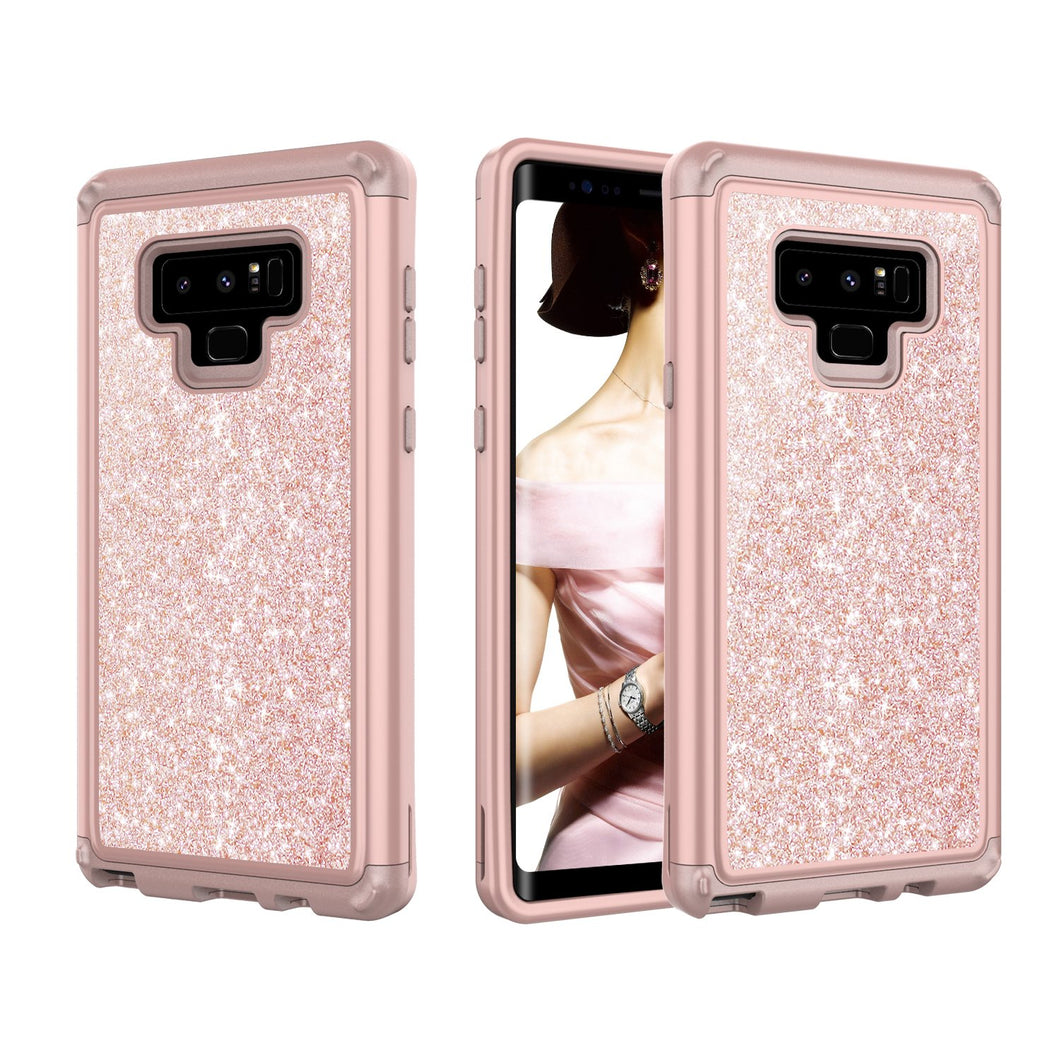 Galaxy Note 9 Shockproof Case, Luxury Glitter Sparkle Bling Heavy Duty Hybrid Sturdy Armor Defender High Impact 3 Layer Protective Cover