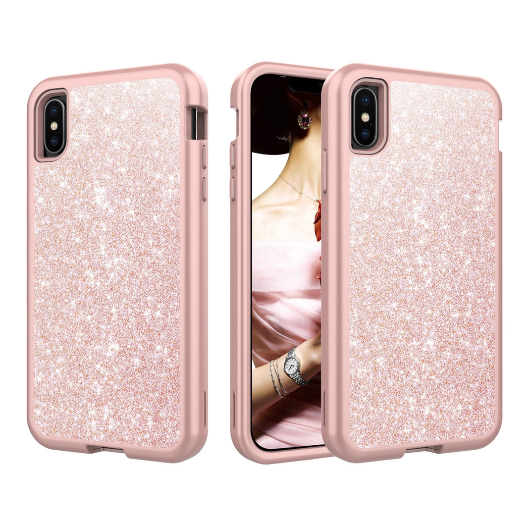 Marble Bling Glitter Shockproof Full Armor Hard Case Cover for iPhone X/XS/XS Max/XR
