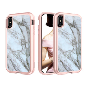 iPhone XS Marble Bling Glitter Shockproof Full Armor Hard Case Cover