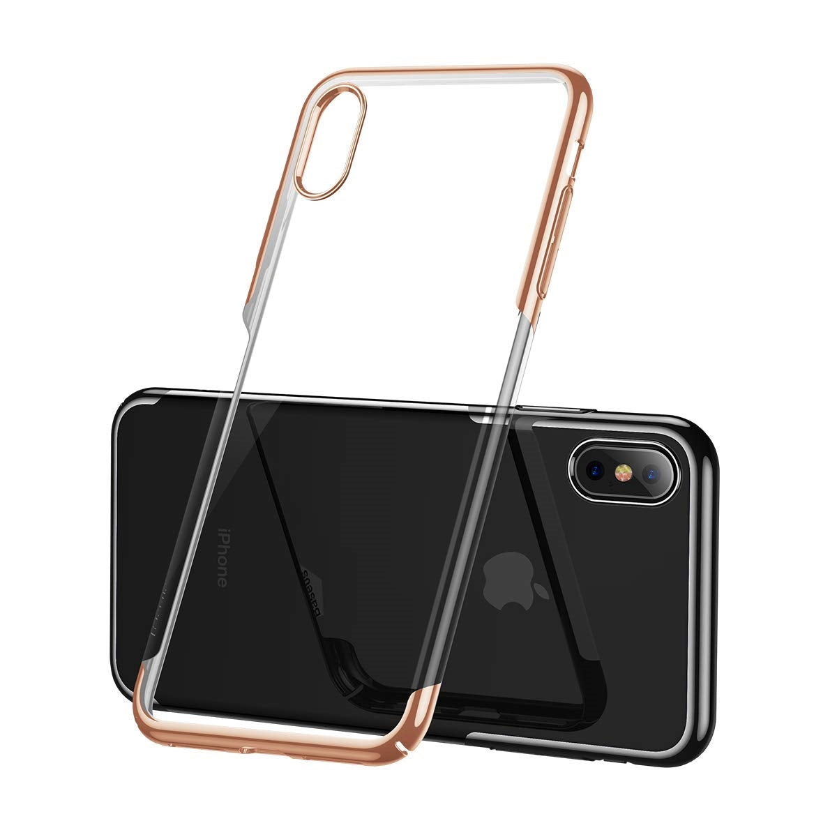 AICase iPhone XR Clear Shinning Electroplating Design PC Bumper Clear Back Protective Case