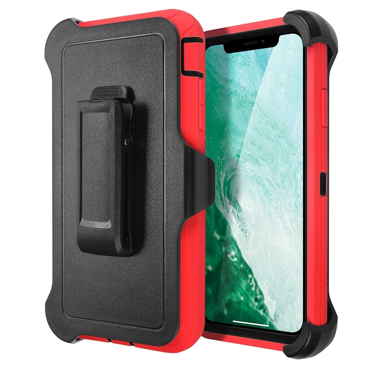 Belt Clip Shockproof 4 in 1 Rugged Shorkproof Dust Proof Cover+ Holster Belt Clip Kickstand for Apple iPhone