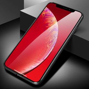 iPhone XS MAX Tempered Glass Back Case, AICase Supre Fashoin Hard Glass Back Cover Soft TPU Bumper Frame Anti-Fingerprints Anti Scratch Protective Case Apple iPhone XS MAX(Red)