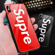 Load image into Gallery viewer, iPhone XS MAX Tempered Glass Back Case, AICase Supre Fashoin Hard Glass Back Cover Soft TPU Bumper Frame Anti-Fingerprints Anti Scratch Protective Case Apple iPhone XS MAX(Red)
