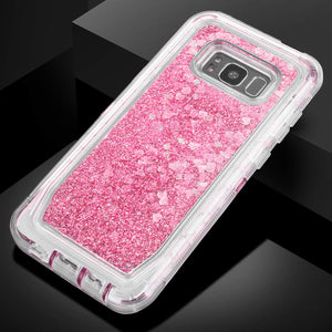 Glitter Sparkle Quicksand 3 Layers Shockproof Hybrid Case 3D Star Flowing Liquid Floating Bling Cover